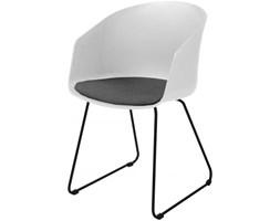 Krzesło Moon biało-czarne siedzisko szare