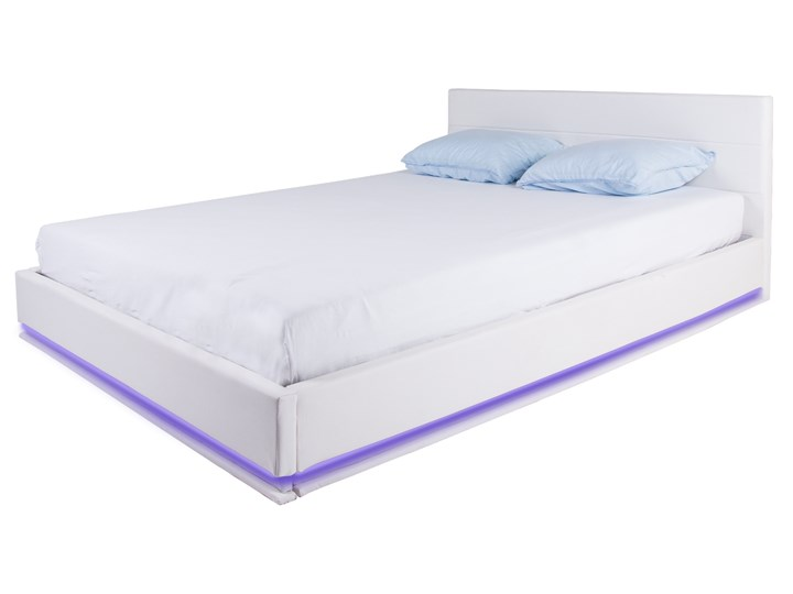 łóżko Tapicerowane Tropez 140x200 Led Z Pojemnikiem Ekoskóra Białe