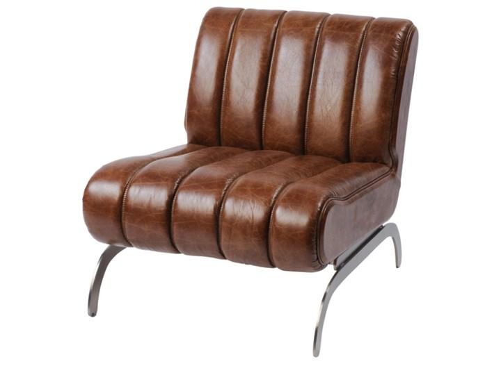 Fotel Alderman Brown Szerokość 68 cm Głębokość 80 cm Wysokość 73 cm metal Fotel tradycyjny Skóra Styl klasyczny