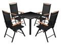vidaXL 5-elementowy zestaw mebli ogrodowych, aluminium, czarny szkło drewno Tworzywo sztuczne Zawartość zestawu Stół Stoły z krzesłami ogrodowe metal Zawartość zestawu Krzesła