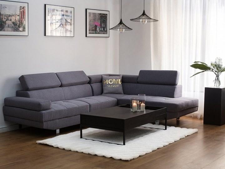 Narożnik lewostronny szary tapicerowany 5 osobowa sofa z regulowanymi zagłówkami Styl Nowoczesny W kształcie L Nóżki Na nóżkach