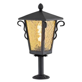 SANDOMIERZ lampa stojąca 1 x 60W E27  słupek ogrodowy stylowy metalowy szklany czarny bursztynowy ARGON 3281