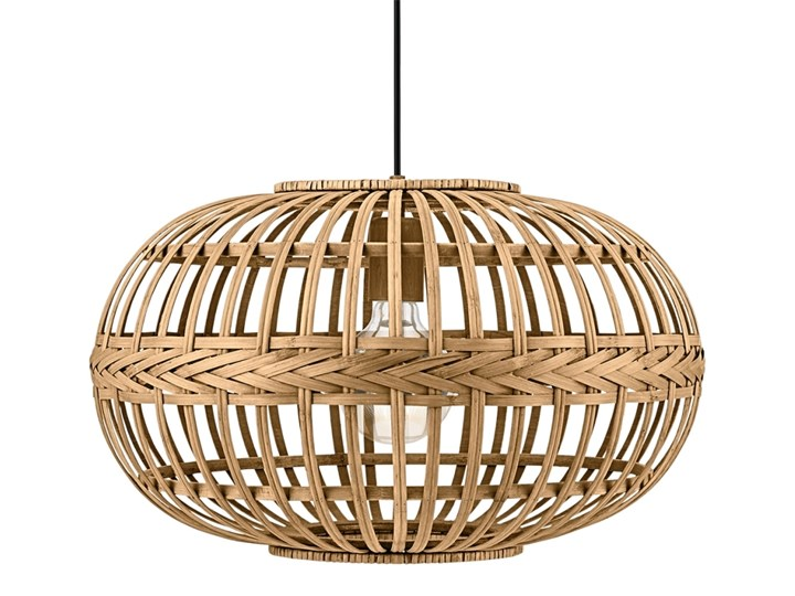 Eglo 49771 - Lampa wisząca AMSFIELD 1xE27/60W Drewno Metal Kolor Beżowy Lampa z abażurem Styl Vintage