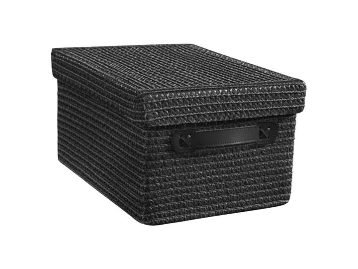 Kosz Pleciony Czarny Z Pokrywą 36x26x20 Cm