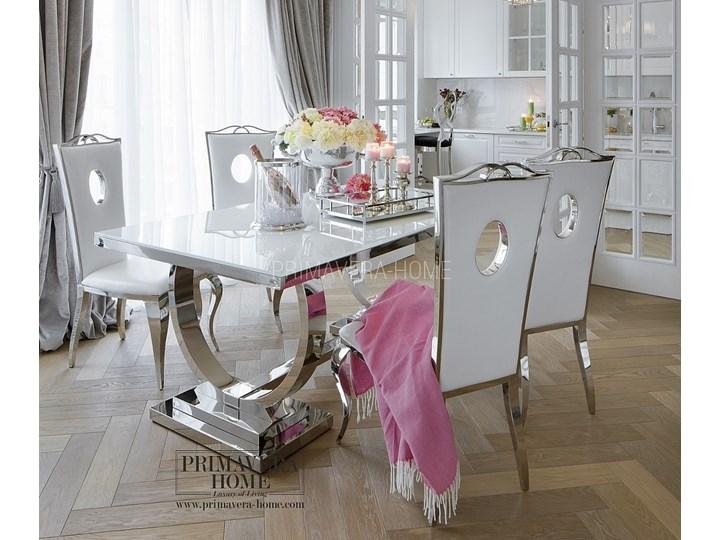 Krzeslo Tapicerowane Stal Nowoczesne Glamour Do Jadalni Biala Eko