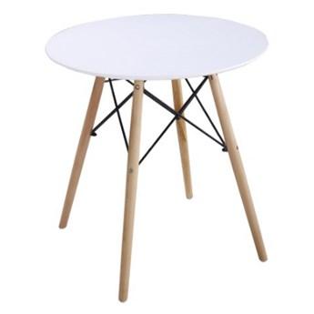 Stół okrągły Paris Milano 70x74 bialy, bukowe nogi