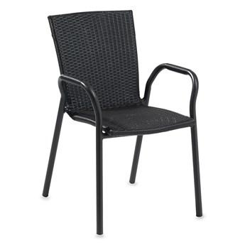 Krzesło do kawiarni VIENNA, rattan, aluminium, czarny
