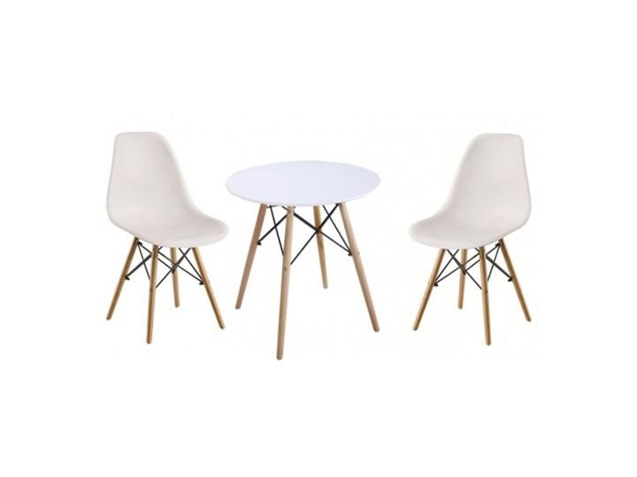 Zestaw stół okrągły Milano Paris 70cm + krzesła Enzo Kolor Beżowy
