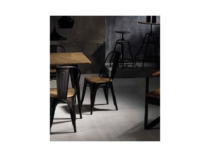 Metalowe krzesło z drewnianym siedziskiem Loft 4 Kolor Brązowy Wysokość 85 cm Szerokość 37 cm Głębokość 36 cm Kolor Czarny