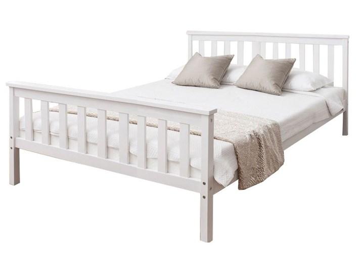 łóżko Białe Drewniane 140x200 Z Zagłówkiem Stelaż łóżka Do