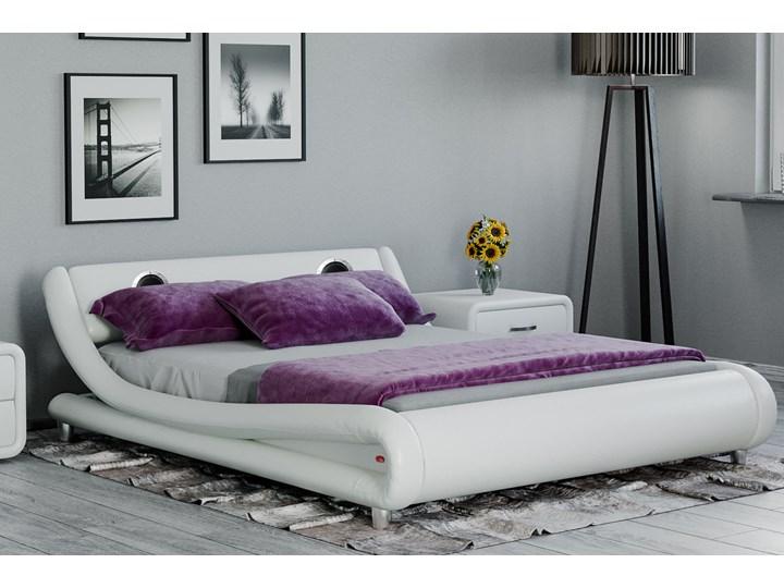 łóżko Tapicerowane Do Sypialni 160x200 114 Białe Z Głośnikami
