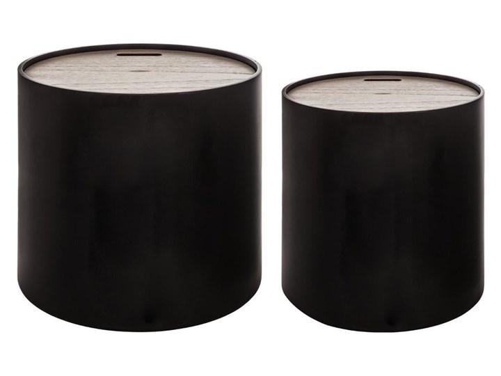 Nowoczesne stoliki ze schowkiem BLACK, 2w1, okrągłe - 2 sztuki w komplecie Płyta MDF Zestaw stolików Drewno Zestaw stolików  Wysokość 45 cm Rodzaj nóg Bez nóg