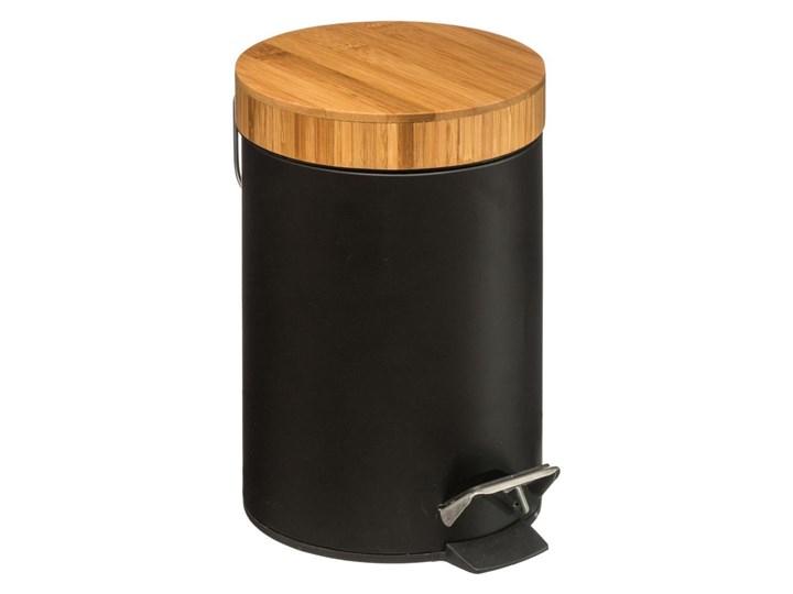 Kosz łazienkowy na śmieci z bambusową pokrywą - kolor czarny, 3 l
