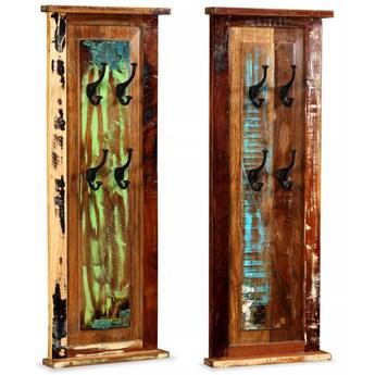 vidaXL Wieszak na płaszcze, drewno z odzysku, 2 szt., 38x100 cm