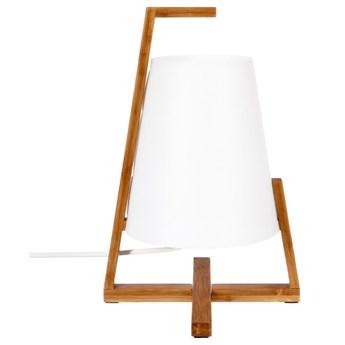 Lampka stołowa z bambusową podstawką - kolor biały