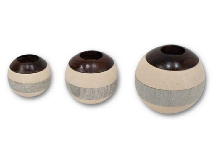 Komplet 2 świeczników Kulki  BALL COMBINATION Kategoria Świeczniki i świece Drewno Ceramika Kolor Beżowy