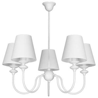 RAFAELLO lampa wisząca 5 x 40W E14 sufitowa abażurowa biała prowansja żyrandol ALDEX 932F