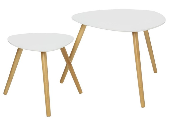 Komplet 2 stolików z drewna eukaliptusowego, biały kolor