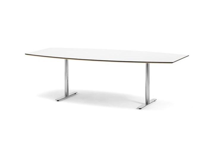 Stół konferencyjny Selma kształt łodzi 2400 mm biały chrom