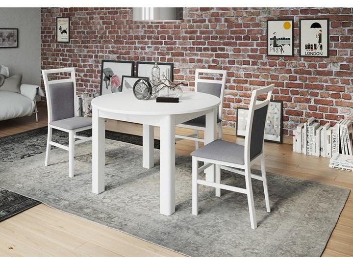 Stół Z 4 Krzesłami Rozkładany Okrągły Biały 110 Cm Stoły Z