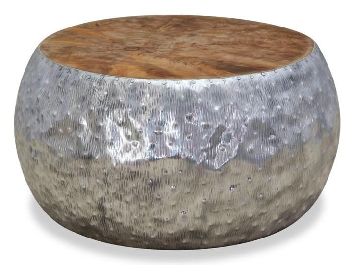 Vidaxl Stolik Kawowy Aluminium Drewno Tekowe 60 X 60 X 30 Cm