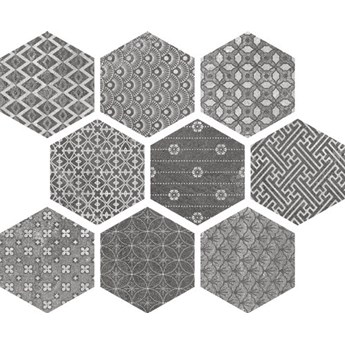 Hexagon Kendo Mix Grey 23x26