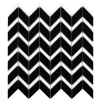 Pure Black Chevron Mix 31x30,5 mozaika