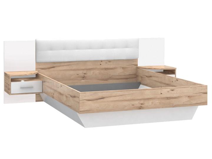 łóżko 160 X 200 I Szafki Nocne Cscl162 C121 Corsica Forte Biały Deska Dębowa