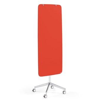 Szklana tablica suchościeralna STELLA, na kółkach, zaokrąglone narożniki, żywa czerwień