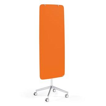 Szklana tablica suchościeralna STELLA, na kółkach, zaokrąglone narożniki, pomarańczowy