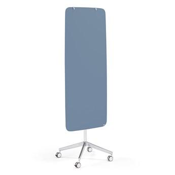 Szklana tablica suchościeralna STELLA, na kółkach, zaokrąglone narożniki, szaroniebieski