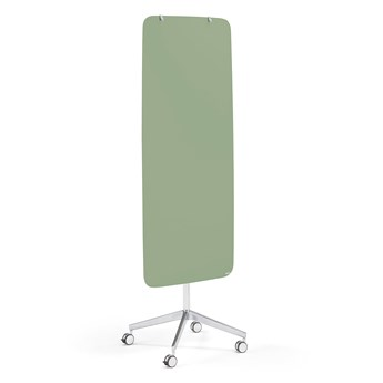 Szklana tablica suchościeralna STELLA, na kółkach, zaokrąglone narożniki, pastelowa zieleń
