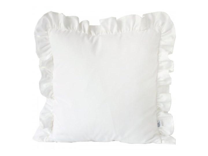 Poszewka dekoracyjna - Biała z falbanką Kwadratowe 45x45 cm 40x40 cm Bawełna 50x50 cm Wzór Jednolity