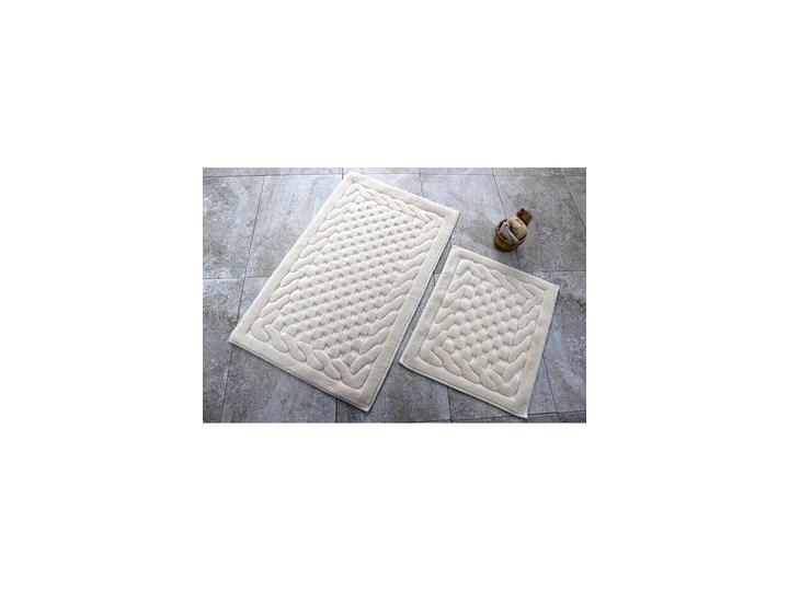Komplet 2 beżowych bawełnianych dywaników łazienkowych Bambi 60x100 cm Bawełna Prostokątny Kategoria Dywaniki łazienkowe