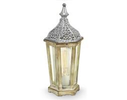 Lampka nocna KINGHORN Eglo styl prowansalski shabby stal nierdzewna drewno szkło srebrny przeźroczysty drewniany 49277