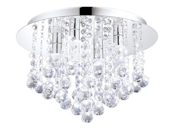 Lampa przysufitowa LED ALMONTE 4 IP44 Eglo styl glamour kryształ stal nierdzewna kryształ chrom przeźroczysty 94878