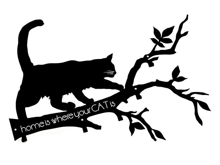 Wieszak Na ścianę Home Is Where Your Cat Is Czarny