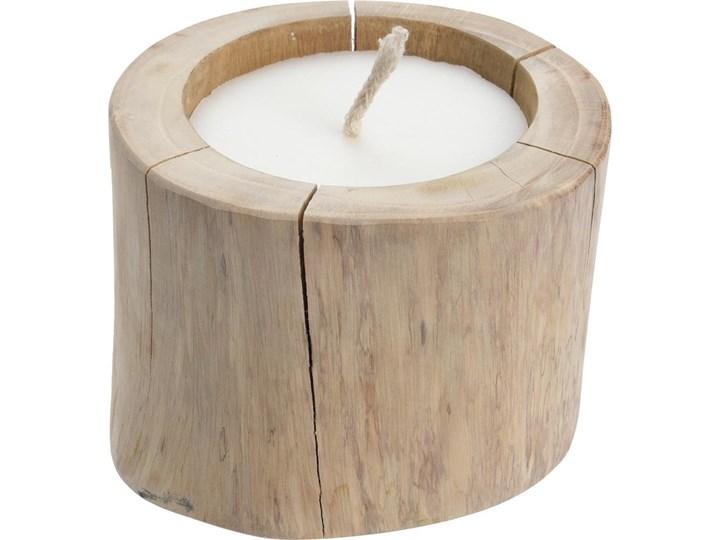 Duży świecznik z drewna tekowego ze świeczką,  Ø 18 cm Świeca