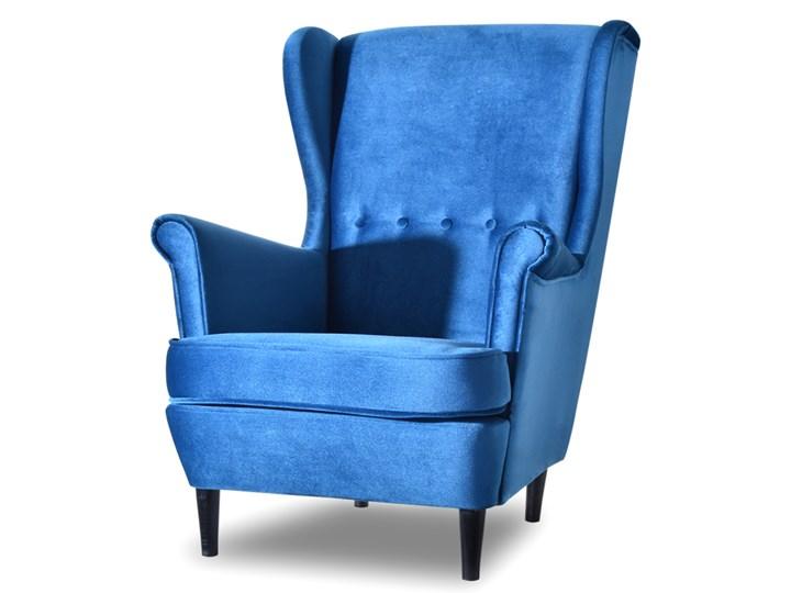 Fotel Malmo Niebieski Pikowany Uszak Welurowy