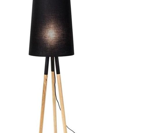Opprinnelig Drewniana lampa podłogowa Oslo czarna z abażurem - Lampy podłogowe UE-12