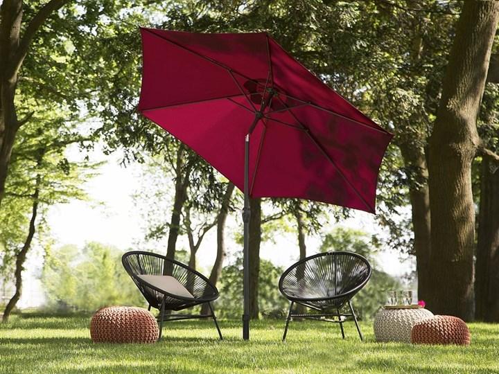 Parasol ogrodowy burgundowy składany 270 x 230 cm odchylany z korbą Kolor Czerwony Parasole Kategoria Parasole ogrodowe