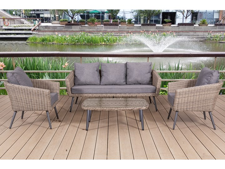 Nowoczesne meble z technorattanu ANTICO sofa 3 osobowa Aluminium Tworzywo sztuczne Zestawy wypoczynkowe Styl Nowoczesny