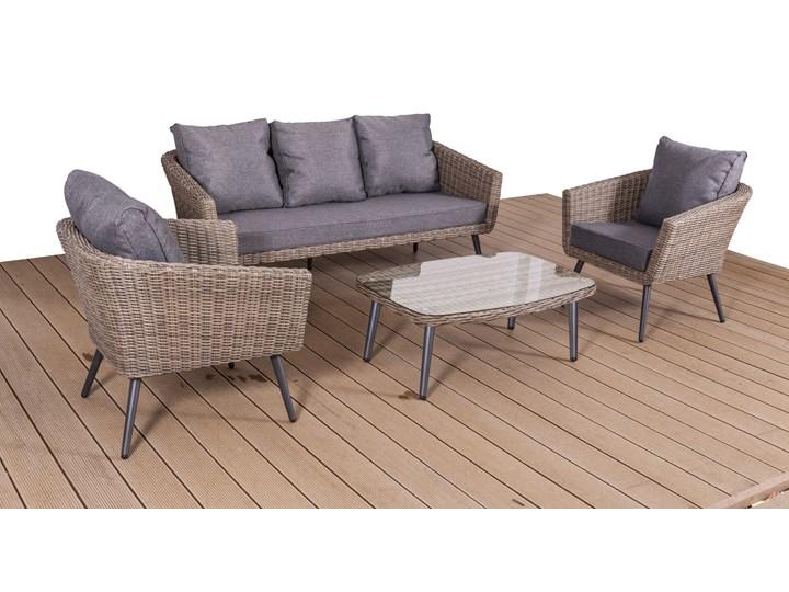 Nowoczesne meble z technorattanu ANTICO sofa 3 osobowa Aluminium Zestawy wypoczynkowe Tworzywo sztuczne Zawartość zestawu Stolik