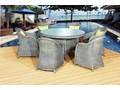 Ekskluzywny zestaw stołowy FORTE okrągły technorattan Zawartość zestawu Fotele tkanina Aluminium Tworzywo sztuczne szkło Styl klasyczny