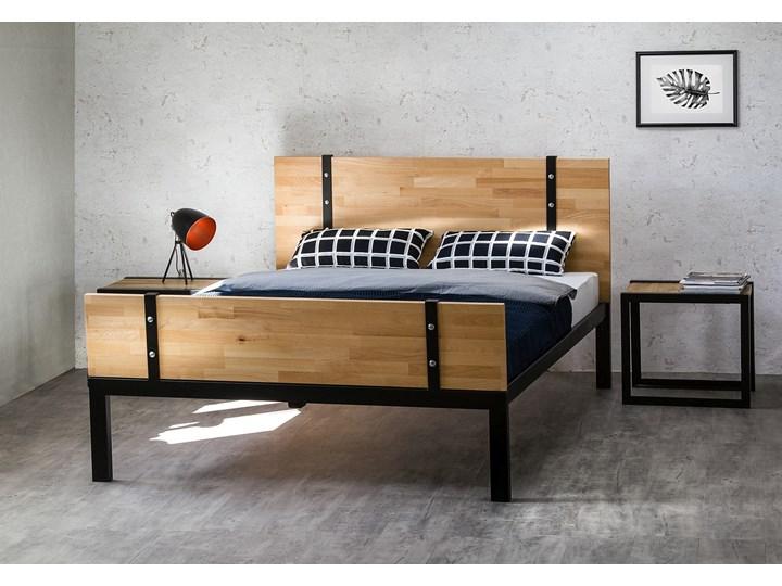 łóżko Drewniane Z Ramą Metalową Akira Z Dwoma Szczytami