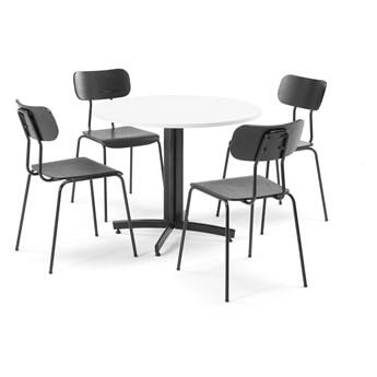 Zestaw mebli, stół Ø900 mm, biały + 4 krzesła czarny