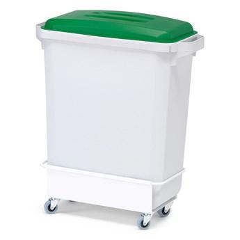 Zestaw do segregacji śmieci, 1 kosz 60 L, 1 pokrywa (zielony), 1 wózek