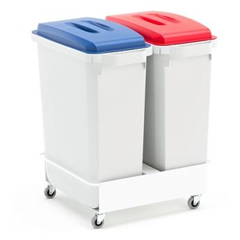 Zestaw pojemników na śmieci, 2x60 L + pokrywy (niebieski + czerwony) + wózek