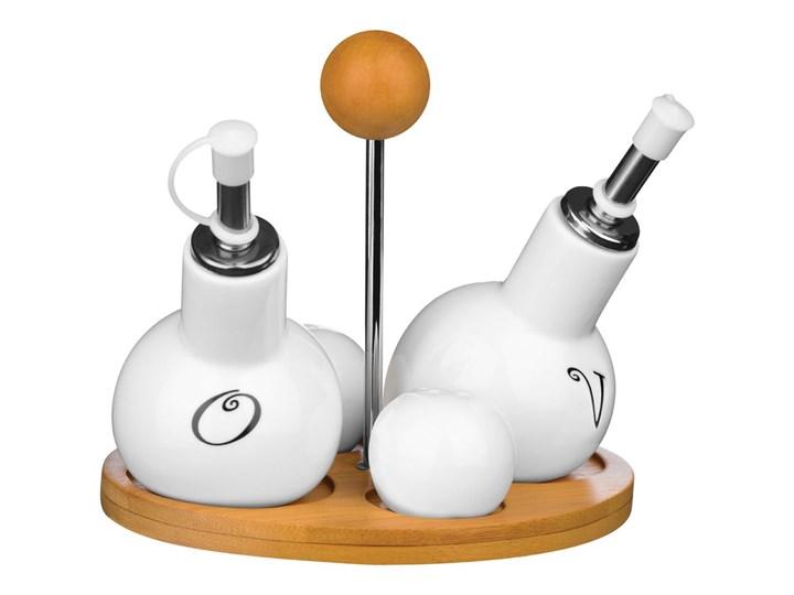 Zestaw pojemników na przyprawy ze stojakiem Premier Housewares Pojemnik na ocet i oliwę Drewno Zestaw do przypraw Solniczka i pieprzniczka Styl vintage