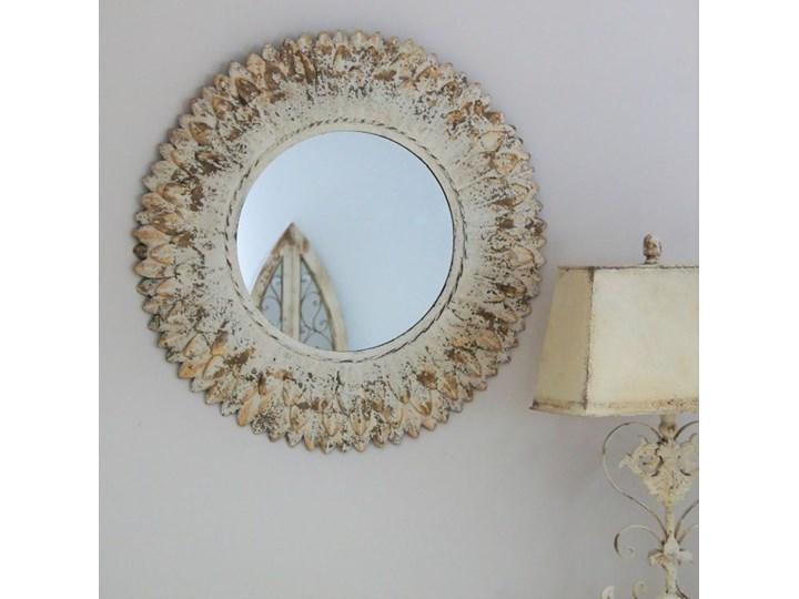 Owalne lustro w metlowej ramie Okrągłe Ścienne Lustro z ramą Kolor Złoty